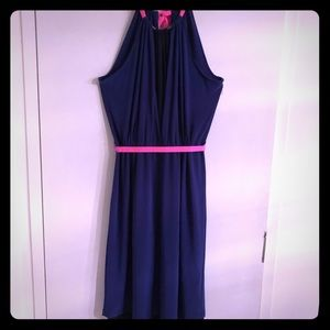 New T Tahari Blue & Pink Ribbon Tie Halter Dress